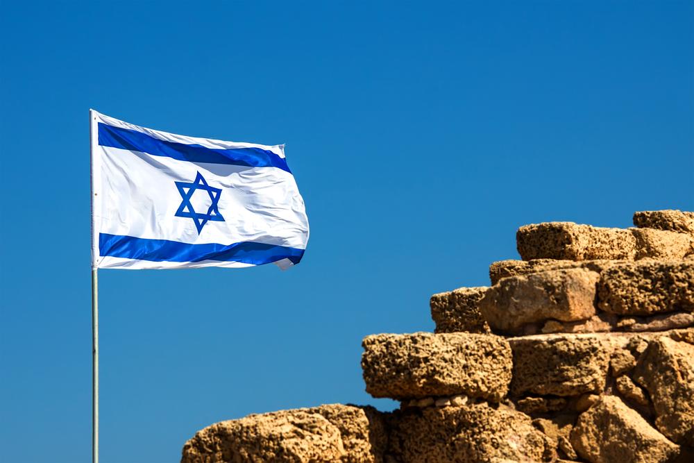 Israelische Flagge auf Mauer