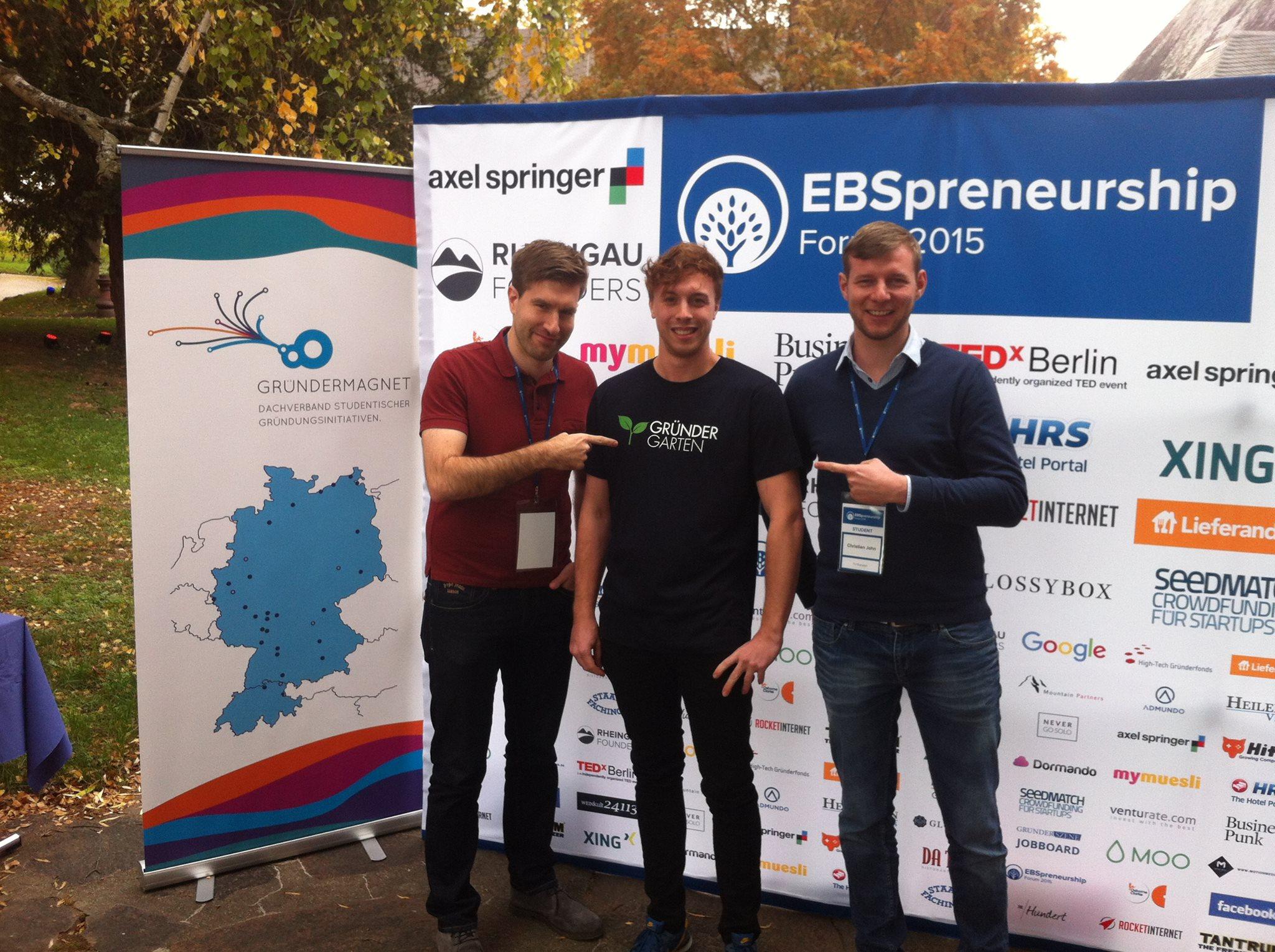 GründerGarten: Die GründerGärtner David Schäffler, Lorenz Weil und Christian John beim EBSpreneurship Forum 2015