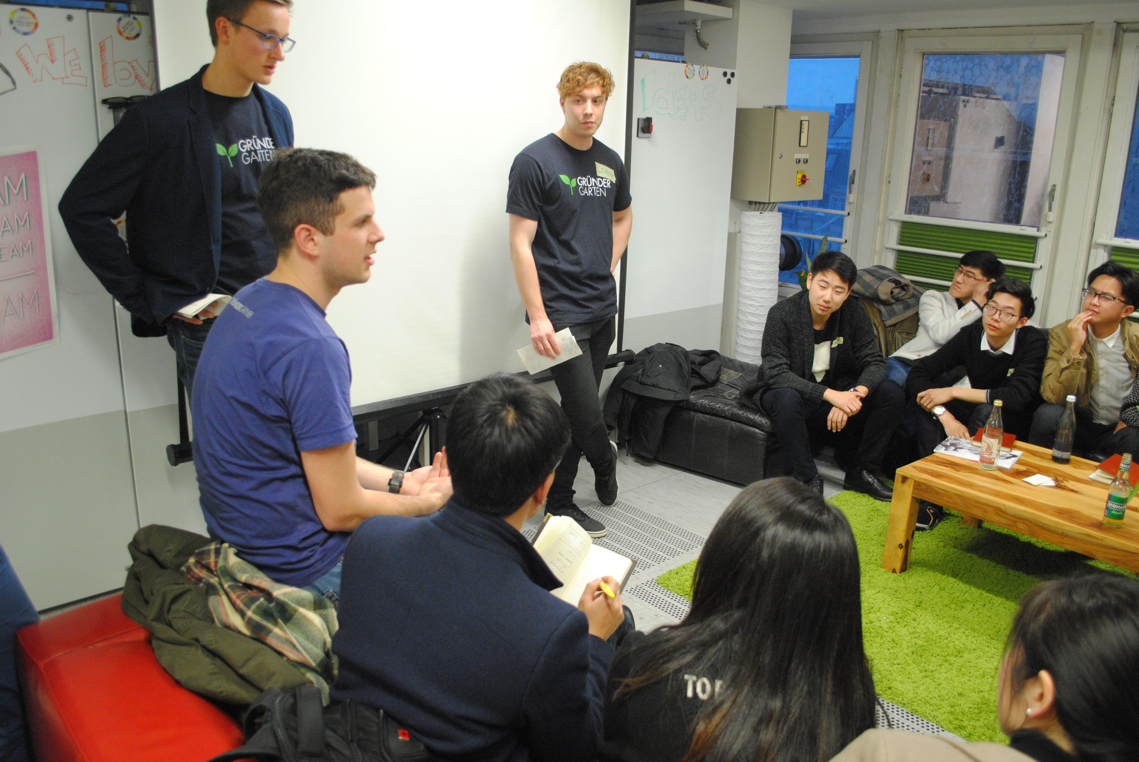 GründerGärtner pitchen vor chinesischen Studenten